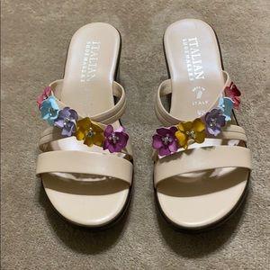 Italian shoemakers wedged flower sandals